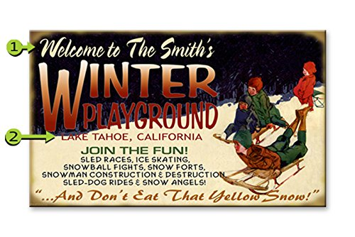 Winter Playground Wood Sign  - vintage winter wall decorations