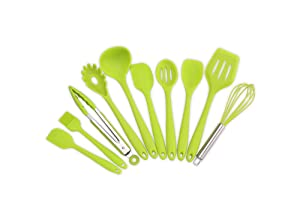 Kitchen Utensils Silicone Heat Resistant Cooking Non-Stick Kitchen Utensil Set 10 Piece Cooking Set Kitchen Tools Turner, Whisk, Spoon,Brush,spatula, Ladle Slotted turner Tongs Pasta Fork(Green)