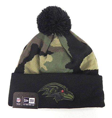 (New Era Nfl Football Beanie Baltimore Ravens Woodcamo Black/green One Size Knit Hat)