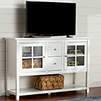 Media Console Table With Storage - Large Glass Doors TV Stand - Entertainment Center or Sideboard - This Piece Of Furniture Is Multipurpose (White)