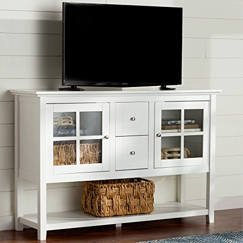 Media Console Table With Storage - Large Glass Doors TV Stand - Entertainment Center or Sideboard - This Piece Of Furniture Is Multipurpose (White) - Large Sideboard