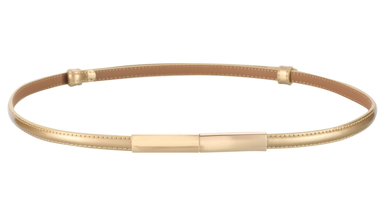 Motase Dress Belt for Women Skinny Leather Waist Belt with Gold Buckle Gold L Plus Size