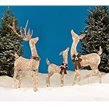Christmas REINDEER FAMILY 3 piece SET, Includes Glittering Gold Buck, Doe and Baby Deer Patio Sculpture for your Outdoor Winter Holiday Lawn Decoration Yard Art