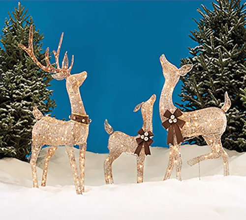 Christmas REINDEER FAMILY 3 piece SET, Includes Glittering Gold Buck, Doe and Baby Deer Patio Sculpture for your Outdoor Winter Holiday Lawn Decoration Yard Art (Raindeer Decorations)