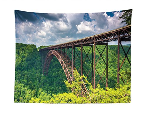 Lunarable USA Tapestry, The New River Gorge Bridge, Seen from The Canyon Rim Visitor Center Overlook, Fabric Wall Hanging Decor for Bedroom Living Room Dorm, 28 W X 23 L ()