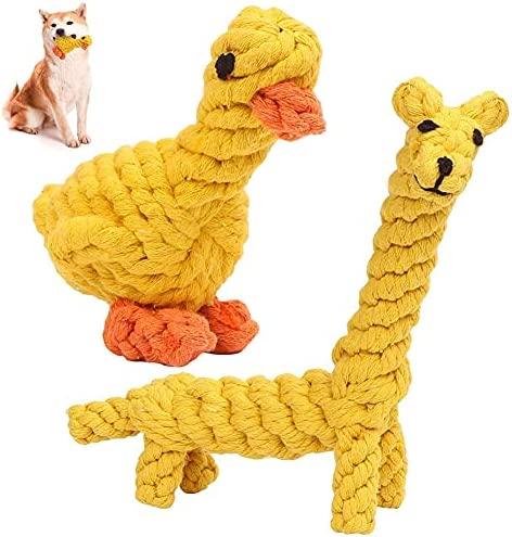 Dog Molar Cleaning Tooth Cotton Rope CYSJ 2 Pcs Dog Rope Toy Duck Shaped chew Toy Pets Cat Puppy Chew Molar Play Sticks Giraffe Shaped Dog Ropes Pet Training/Bite Tolerance/Interaction