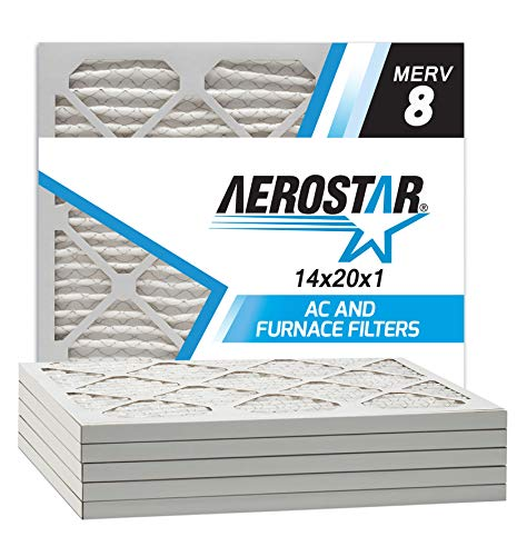 Aerostar 14x20x1 MERV 8 Pleated Air Filter, Made in the USA, 6-Pack