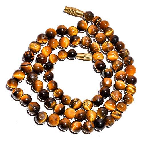 Kanta Incorporation Natural Tiger Eye Gemstone Smooth Round Beads Barrel Clasp Necklace 17