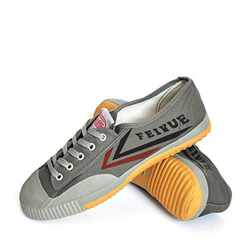 Kung fu Vintage Basic Shoes, Men Women Martial Arts Shoes, Black Sneakers Wu shu Shoes (Europe 44, Gray Shoes)