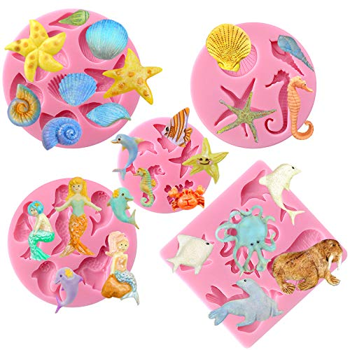 - Funshowcase Mini Sea Creatures Summer Beach Theme Candy Silicone Mold for Sugarcraft, Cake Decoration, Cupcake Topper, Fondant, Jewelry, Polymer Clay, Crafting Projects, 5 in Set