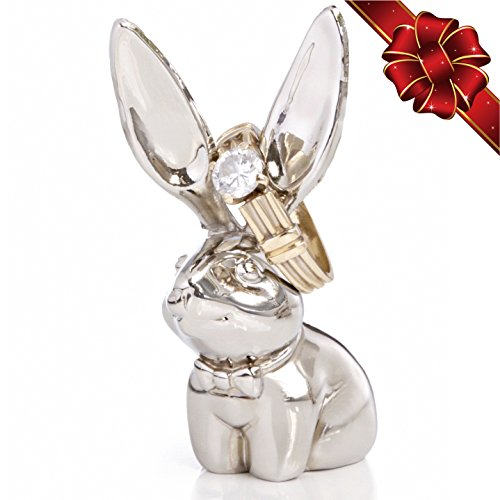 WishStar Silver Bunny Ring Holder - best gift for women girlfriend mom or sister - Beautiful Elegant jewelry accessory