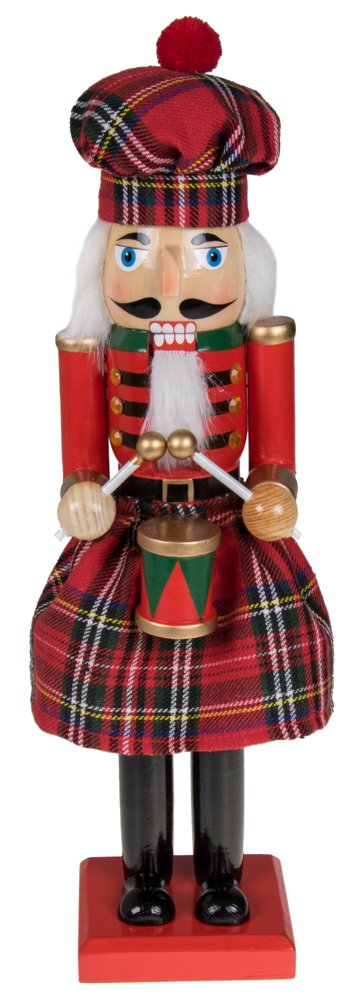 Clever Creations Traditional Scottish Wooden Nutcracker Decoration Red and Green Plaid Nutcracker with Drum | Premium Festive Christmas Decor | 15'' Tall Perfect for Shelves & Table