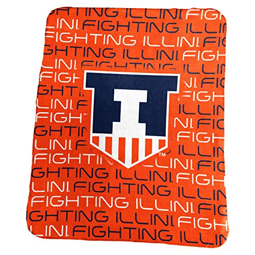 Logo Brands NCAA Illinois Illini Classic Fleece, One Size, Carrot (Illini Fighting Blanket)