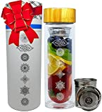 NALU CHAKRA -7 Chakras Original Artwork- Tea Infuser Tumbler, Fruit Infusion Glass Bottle & Coffee Brewer with Filter 15.8oz