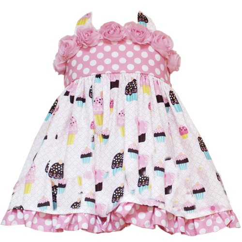 Rare Editions Baby 12M-24M Pink Rolled Rosette Birthday Cupcake Halter Dress