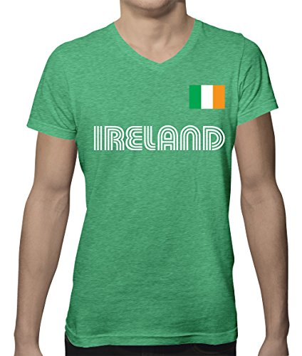 SpiritForged Apparel Ireland Soccer Jersey Men's V-Neck T-Shirt, Irish Green Heather (Cotton V-neck Football Tee)
