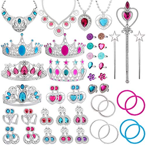 WATINC 54pcs Jewelry Toy,Girl's Jewelry Dress Up Play Set,Included Crowns, Necklaces,Wands, Rings,Earrings and Bracelets]()