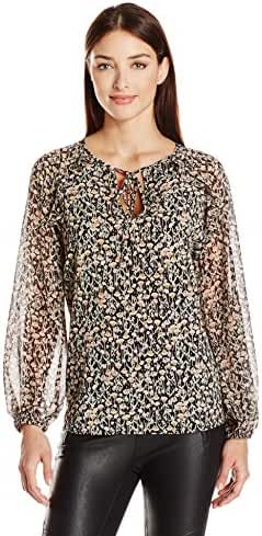 BCBGeneration Women's Floral Printed Ruffle Blouse