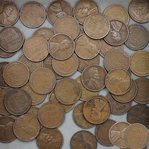 1919 Lincoln Wheat Cent 50 Coin Roll Average Circulated Pennies