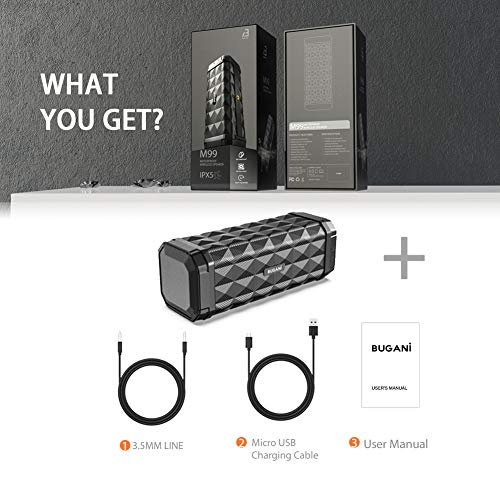 Bluetooth Speaker, Bugani M99 Portable Bluetooth Speaker 5.0, 100ft Wireless Range, 16w Stereo Sound, Amazing Bass, Built-in Mic,Speaker for Home, Outdoors and Travel(Black)