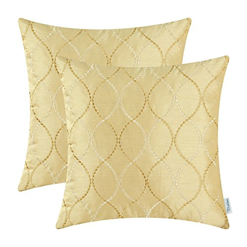 Gold Cushion Cover - Pack of 2 CaliTime Cushion Covers Throw Pillow Cases Shells for Home Sofa Couch, Modern Waves Lines Embroidered 18 X 18 Inches Gold