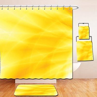 Nalahome Bath Suit: Showercurtain Bathrug Bathtowel Handtowel Yellow Decor Abstract Vibrant Summer Sun Set Bright Different Shades Of Dream Style Design Decorative Yellow