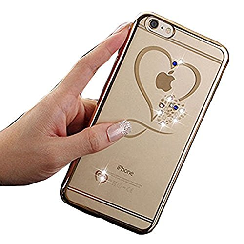 Price comparison product image iPhone 7 Case, Inspirationc Glitter Bling Crystal Rhinestone Diamonds Clear Rubber Electroplate Plating Frame TPU Soft Silicone Bumper Case Cover for Apple iPhone 7 4.7 Inch--Gold and Heart