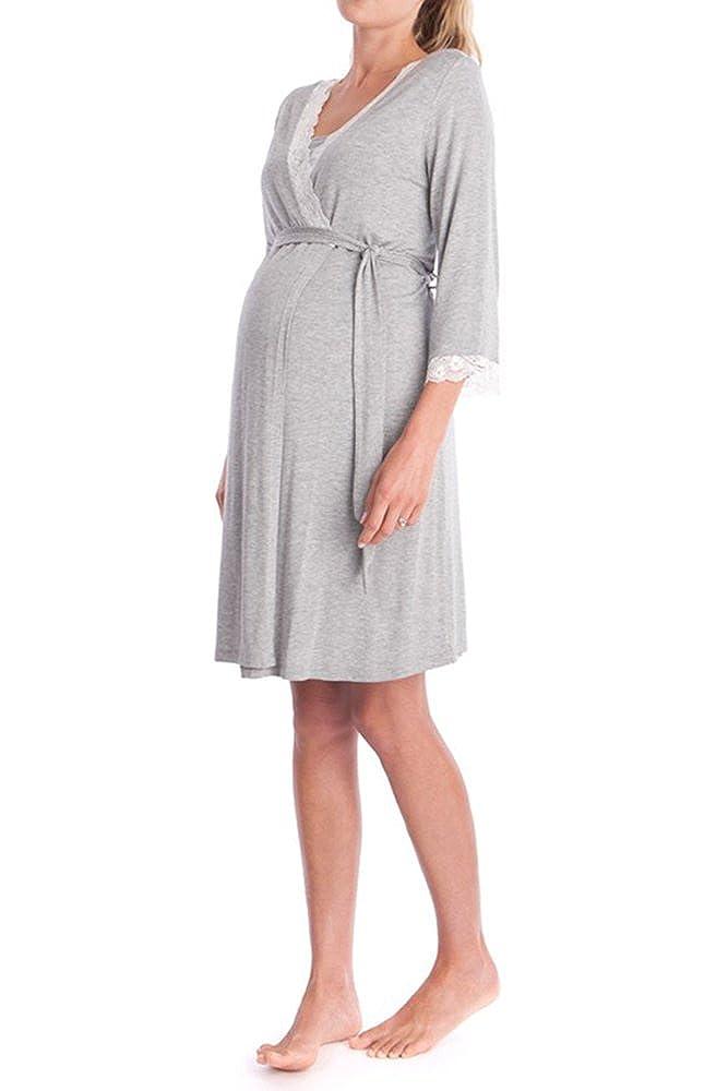 XFentech Mujeres Robe Sexy Elegante Encaje Costura Maternidad Ropa de Dormir Pijamas: Amazon.es: Ropa y accesorios