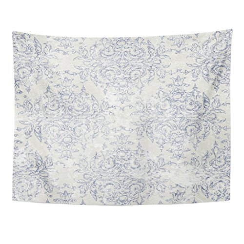 TOMPOP Tapestry Blue French Taupe and Navy Toile Beige Antiqued Filigree Home Decor Wall Hanging for Living Room Bedroom Dorm 60x80 Inches