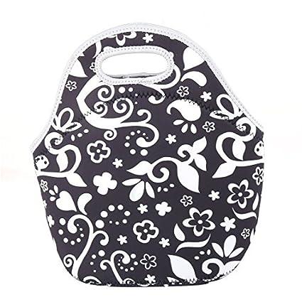 Patrón eDealMax neopreno flor de picnic con cremallera de cierre nevera portátil del bolso del almuerzo