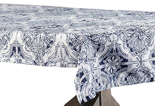 - PTPCH-170809-TC-84 Delft Designer Faux Silk Taffeta Table Cloth, Blue, 54 x 84