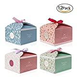Emango Gift Boxes, Set of 12 Decorative Treats Boxes, Cookies, Goodies, Candy and Homemade Soaps Gift Box for Christmas, Birthdays, Holidays, Weddings