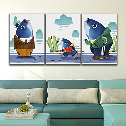 3 Panel Watercolor Style Cartoon Mr Fish x 3 Panels