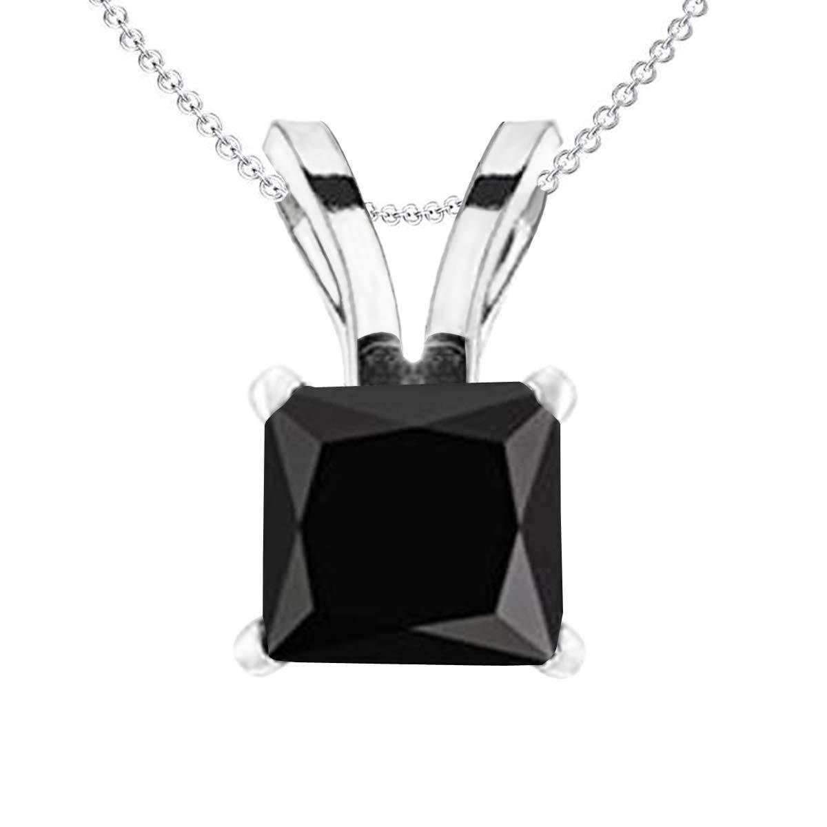10K Gold Princess Cut Black Diamond Ladies Solitaire Pendant