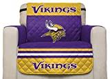 NFL Minnesota Vikings Chair Reversible Furniture Protector with Elastic Straps, 75-inches by 65-inches