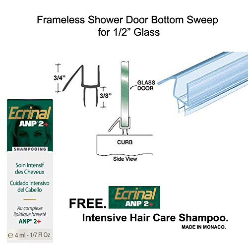 "70%OFF Clear Shower Door Bottom Seal with Drip Rail for 1/2"" Glass - 32"" long with Free Ecrinal Intensive Hair Care Shampoo with ANP2 4 ml"