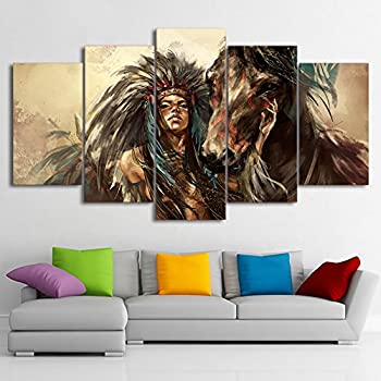 Large Ancient Native American Painting On Canvas 5 Piece Wall Art Retro  Indian Chief Painting Mystic Pictures Print For Home Decor Framed For  Living Room ...