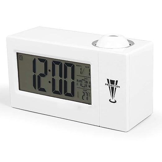 Jiege Reloj Despertador proyector,Reloj de proyección electrónico ...
