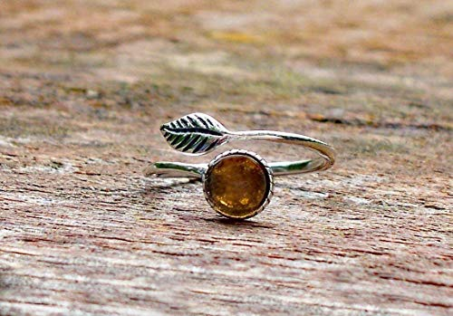 Recycled Vintage Amber Clorox Jug Sterling Silver Adjustable Botanical Leaf Ring
