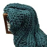Super Chunky Knit Throw Blanket 50x70in Mother Gift Handmade Dark Green Wool Yarn Throw Big Blanket (50x70in)