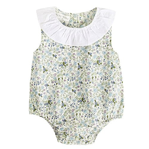 Anyren Summer Kids Romper, Baby Girl Floral Print Sleeveless Playsuit Jumpsuit Green (12M)