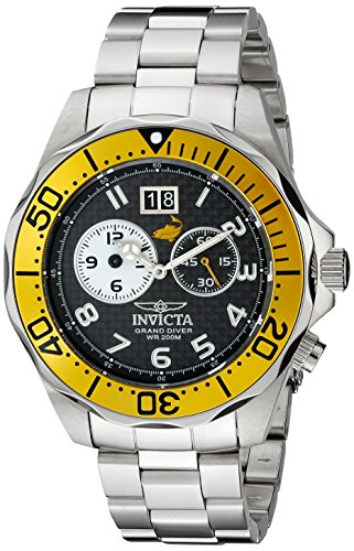 Invicta Men's 14441 Pro Diver Black Carbon Fiber Dial Stainless Steel (Invicta Grand Diver Chronograph)
