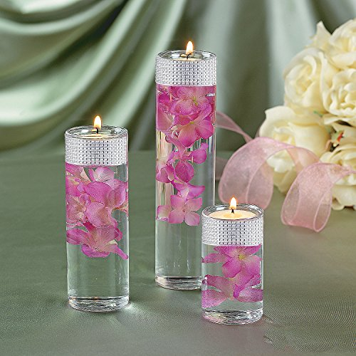 Gift boutique cylinder glass vase set of with silver