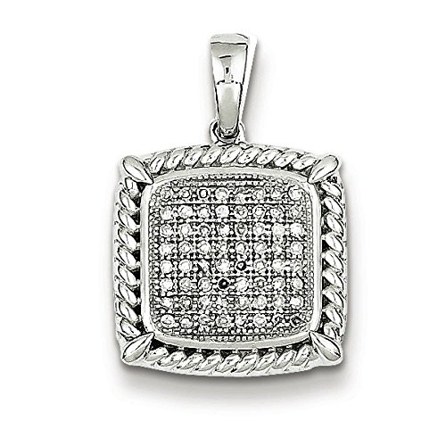 Argent Sterling Rhodium plaqué diamant Square Pendentif JewelryWeb