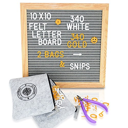 Gray Felt Letter Board 10x10 Changeable Message Board Sign with 680 White - Gold Letters and Emoji | FREE Snips and 2 Zippered Storage Bags | Photography Prop -