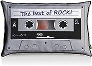 Almofada Fita Cassete Best Of Rock - fundo preto, Yaay, Multicor