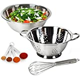 7 pc stainless steel cookware set - Colander Stainless Steel with Bowl - 7 Pc Set - Mixing Bowl, Strainer with Handle, Whisk, Measuring Spoons - Easy Grip Mirror Finished Cookware Set by Colleta Home