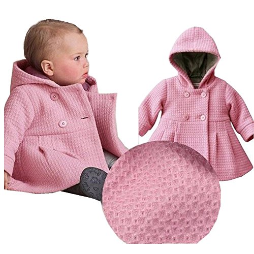 EGELEXY Baby Girl's Hooded Wool Cotton Trench Coat Outwear 12-18months Pink