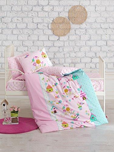 Birds Garden, 100% Cotton Baby Girls Crib Bedding Baby Duvet Cover Set, Baby Comforter Included, Made in Turkey - 5 Pieces (Birds Garden ()