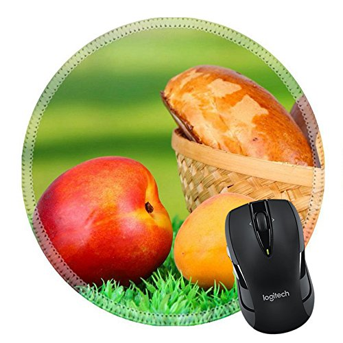 MSD Natural Rubber Mousepad Round Mouse Pad 21806998 Fresh baked pasties with fruits in wicker basket on grass on bright background